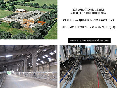 SOLD IN 2018. MANCHE. Dairy farm 730,000 litres on 102 hectares
